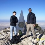 Guadalupe Peak. Highest place in Texas.  With my son Tiger.